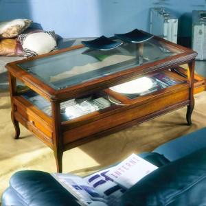 Tavolino Teca con cristallo...